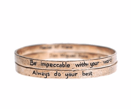 he Four Agreements Double Bangle Set Bracelets in Bronze | Handcrafted | Inspirational Jewelry | Jewelry Evolution | Made in Bali