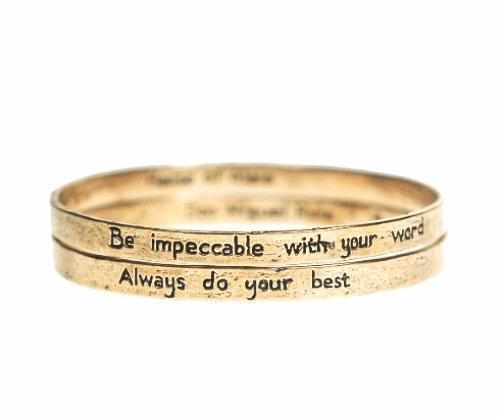 he Four Agreements Double Bangle Set Bracelets in Brass | Handcrafted | Inspirational Jewelry | Jewelry Evolution | Made in Bali