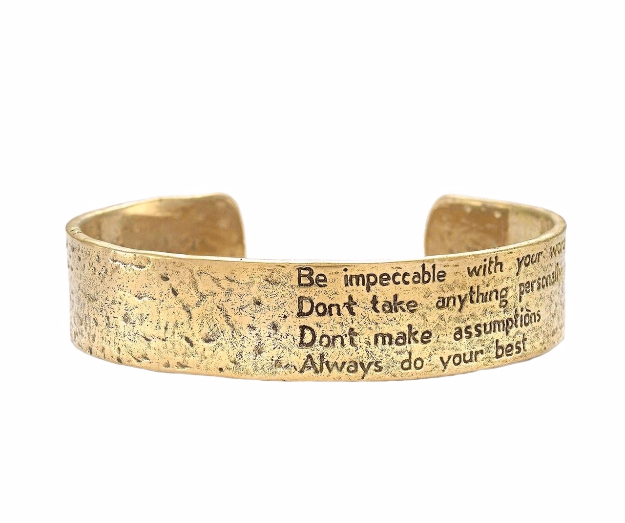 The Four Agreements Cuff Bracelet in Brass | Handcrafted | Inspirational Jewelry | Jewelry Evolution8 | Made in Bali