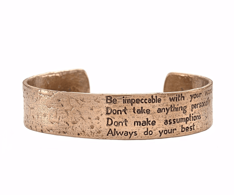 The Four Agreements Double Bangle Set in Bronze