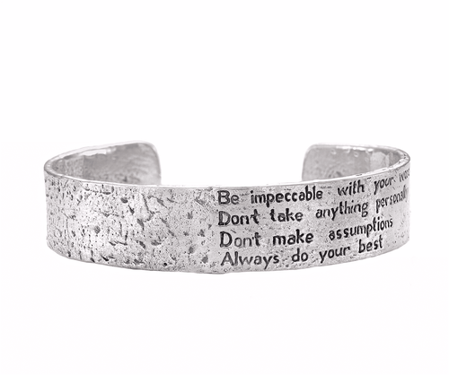 The Four Agreements Cuff Bracelet in Sterling Silver | Handcrafted | Inspirational Jewelry | Jewelry Evolution | Made in Bali