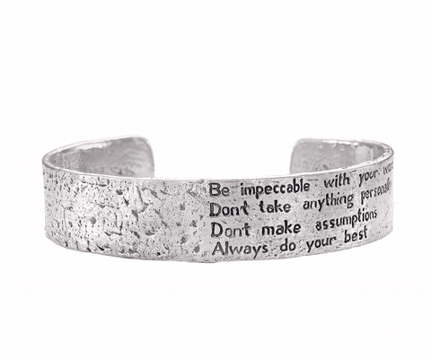 The Four Agreements Dome Cuff in Sterling Silver