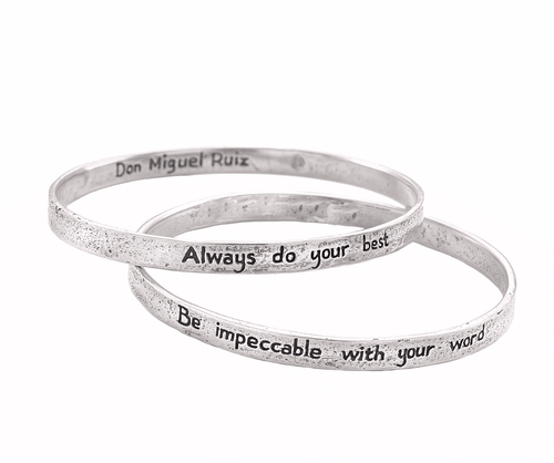 he Four Agreements Double Bangle Set Bracelets in Sterling Silver | Handcrafted | Inspirational Jewelry | Jewelry Evolution | Made in Bali