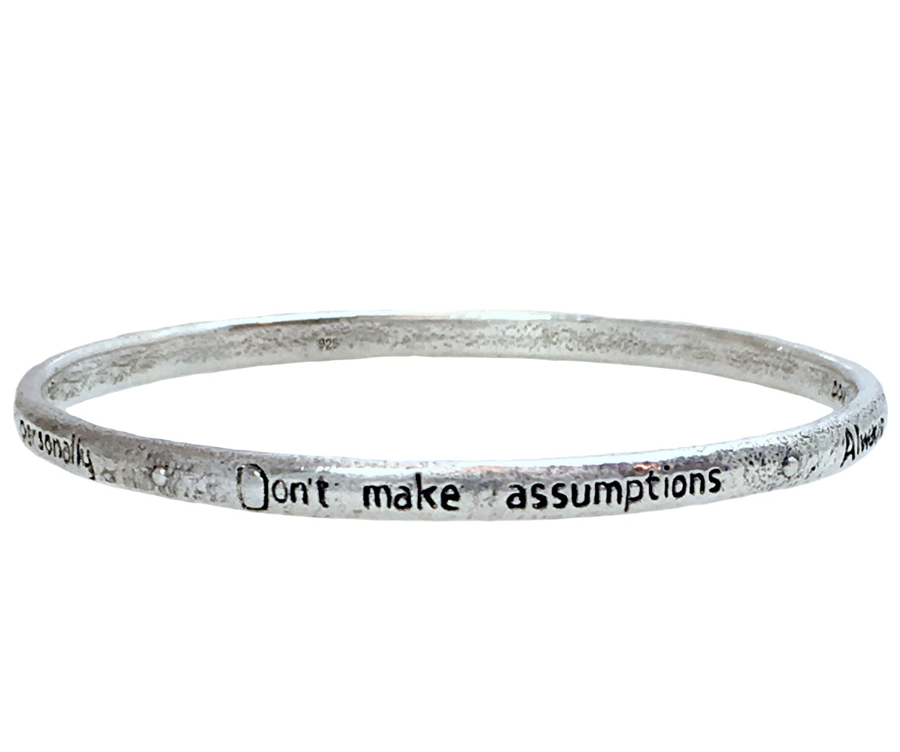 The Four Agreements Single Bangle in 925 Sterling Silver | Handcrafted | Inspirational Jewelry | Jewelry Evolution8 | Made in Bali