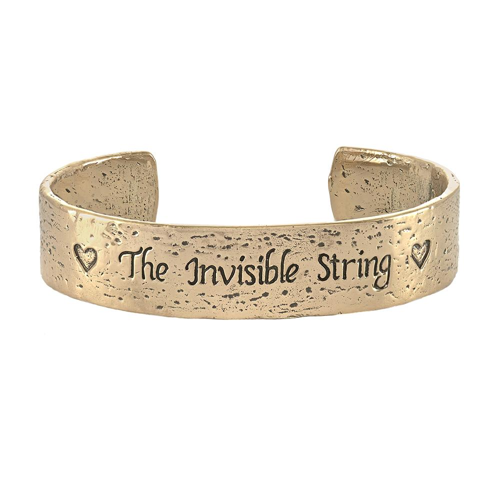 The Invisible String Jewelry | Wide Cuff Bracelet in  bronze  | Heart Jewelry | The Invisible String Red Chord Bracelet | Always Connected | Patrice Karst | Jewelry Evolution8 Collaboration