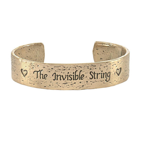 The Invisible String Black Chord Bracelet in Bronze