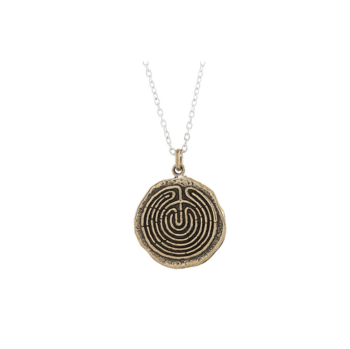 Labyrinth Small Journey Talisman Pendant Necklace in Bronze on Sterling Silver Chain-Wearable Wisdom-Jewelry Evolution8-Handcrafted Jewelry