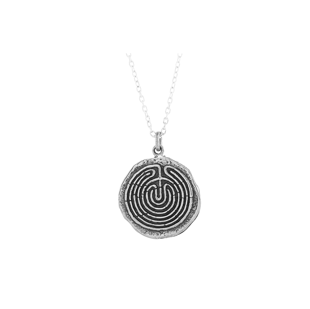 Labyrinth Small Journey Talisman Pendant Necklace in Sterling Silver-Wearable Wisdom-Jewelry Evolution8-Handcrafted Jewelry