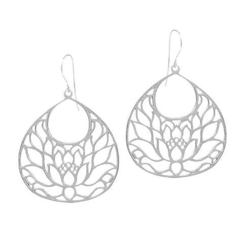 FINDING PEACE Small Lotus Flower Earrings in Sterling Silver