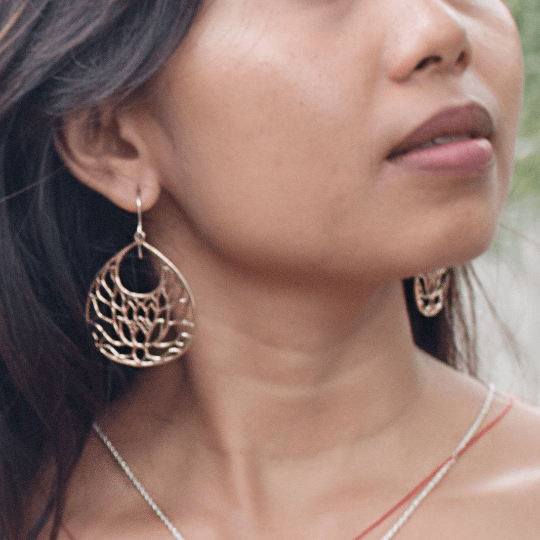 Finding Peace Earrings in Bronze and Sterling Silver | Jewelry Evolution8 | Handcrafted Jewelry
