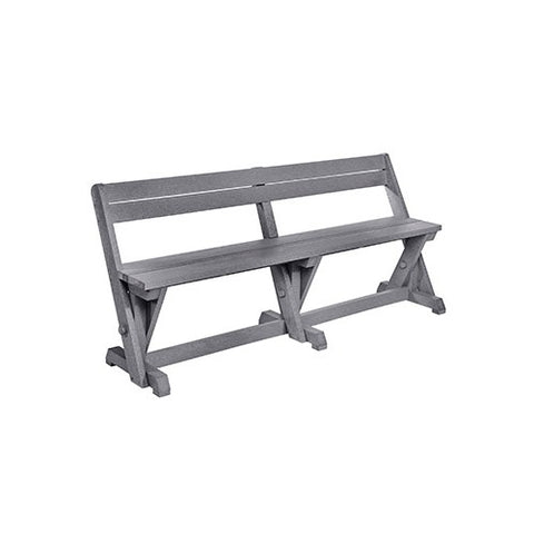 B202 DINING TABLE BENCH WITH BACK SLATE GREY