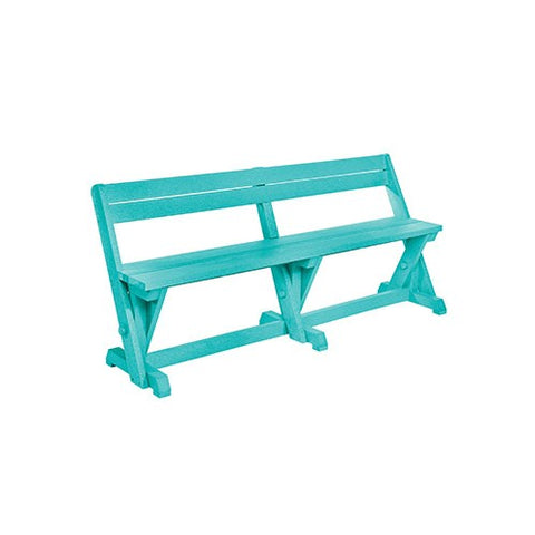 B202 DINING TABLE BENCH WITH BACK TURQUOISE
