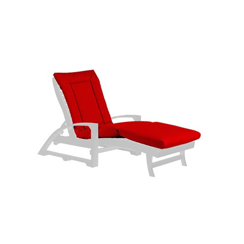LP01 CHAISE LOUNGE CUSHION CANVAS JOCKEY RED-5403 C.R. PLASTICS OUTDOOR FURNITURE CUSHION