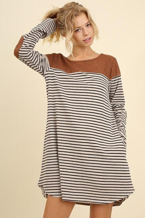 Suede Accented Striped Dress