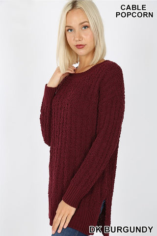 Burgundy Popcorn Sweater