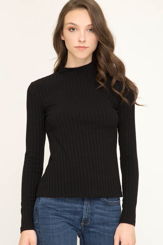 Blk Mock Neck Rib Knit