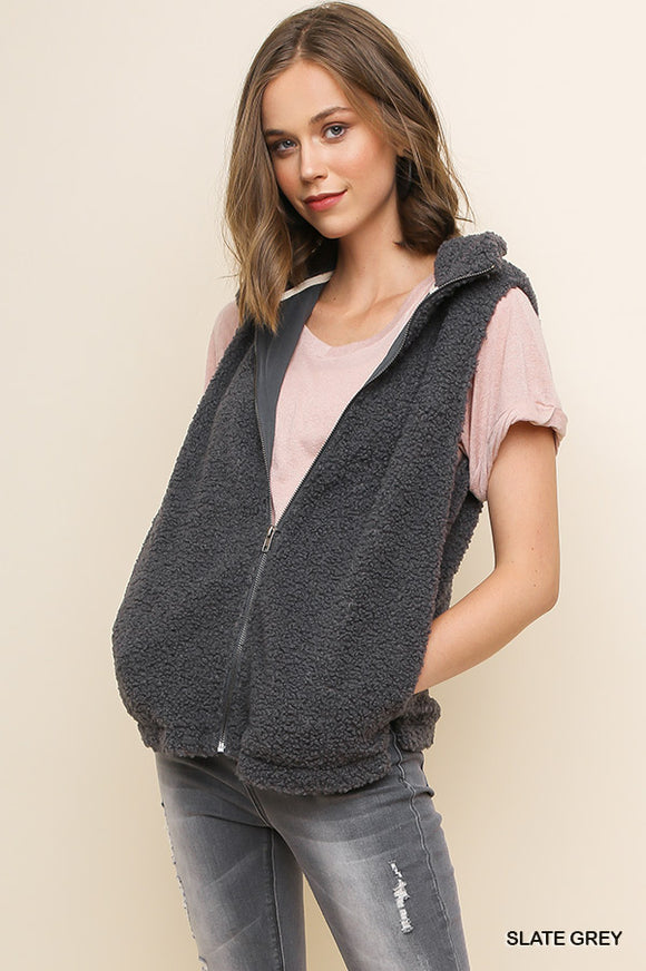 Grey Knit Zip Vest