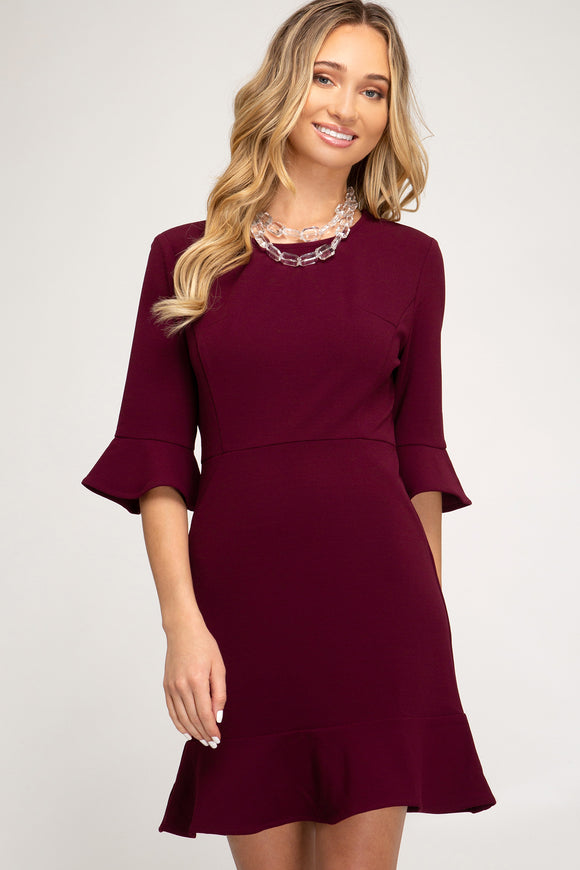 Wine 3/4 Sleeve Dress w Ruffles