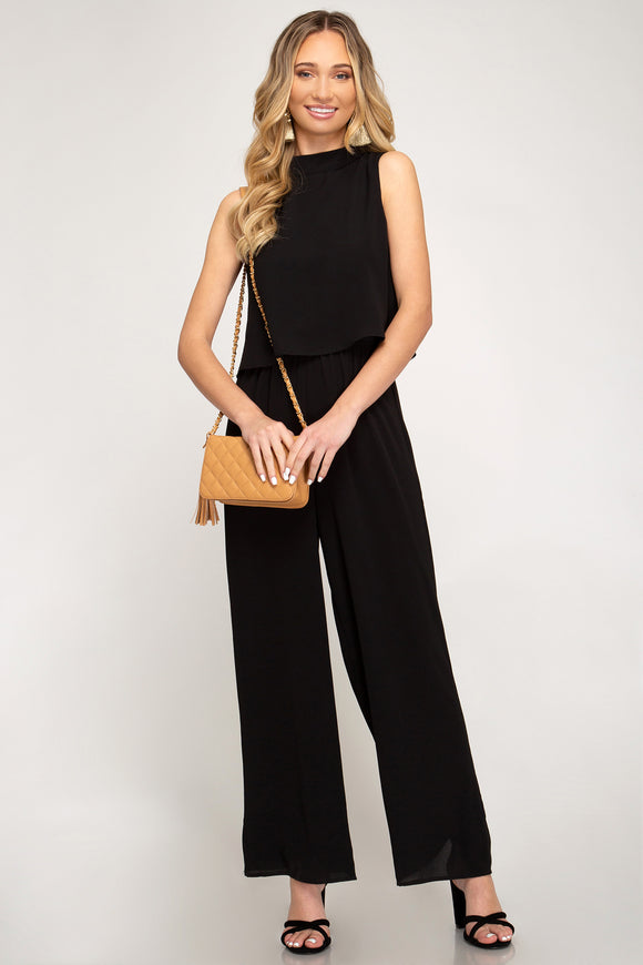 Wide Leg Jumpsuit with Layered Top