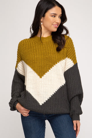 Mustard Chevron Color Blocked Sweater