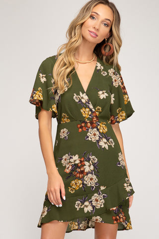 Floral Dress with Flutter Sleeves