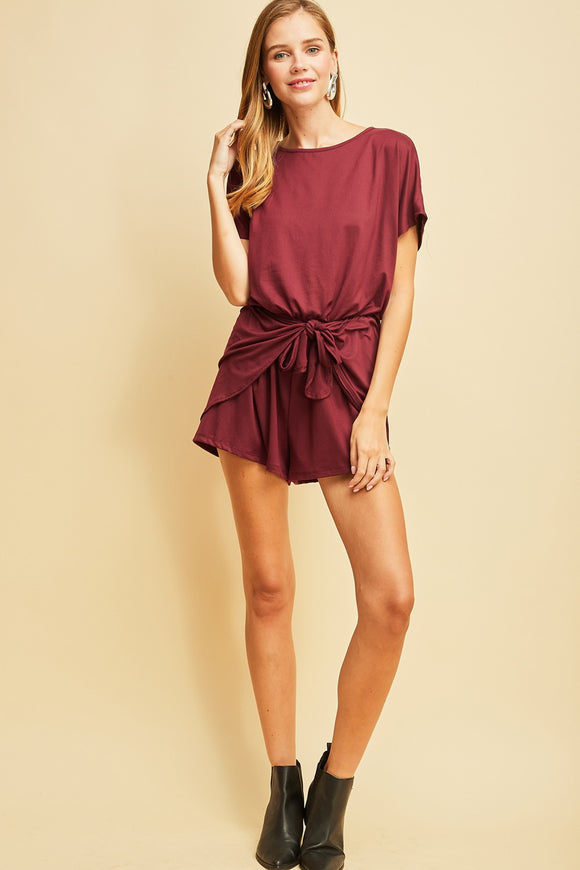 Dark wine romper