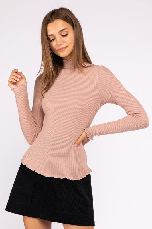 Blush Lettuce Mock Neck
