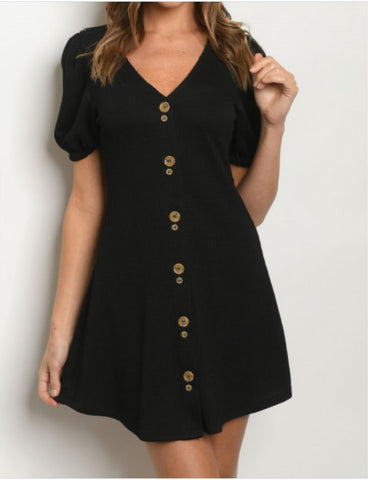Little Black Vneck with Buttons