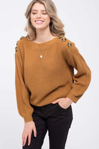 Button Shoulder Knit Sweater