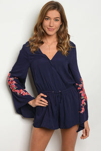 Navy romper with embroided sleeves