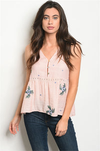 Pink Flower Embroidered top