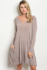 Taupe dress with criss cross front and side pockets