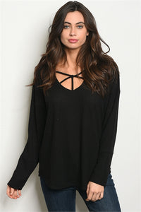 Black Accented Neckline Top