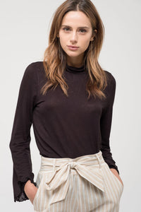 Black Long Sleeve Turtle Neck Knit Top