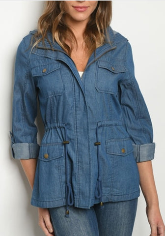 Denim Drawstring Jacket