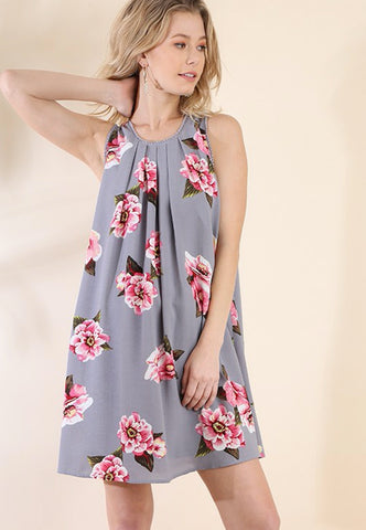 Grey/ pink Floral print dress with crochet detail