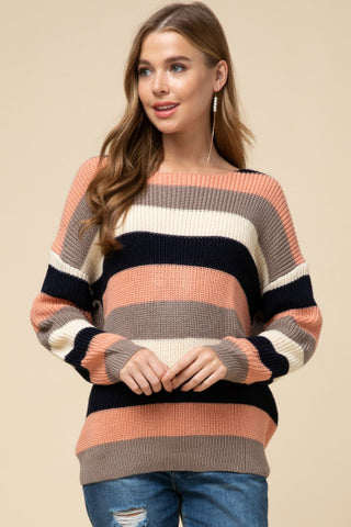 Striped Twist Back Sweater