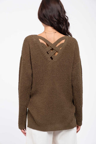 Criss Cross Back Sweater - Olive