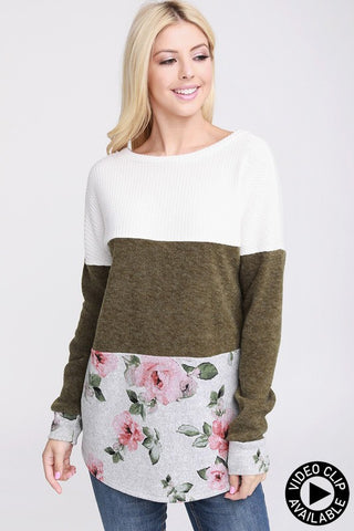 Ivory/Olive/Floral Color Block