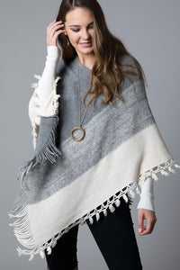 Soft Gradient Knit Poncho