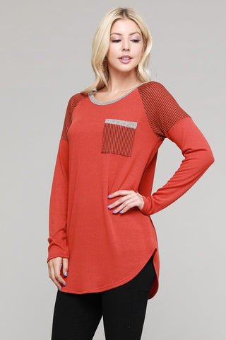 Rust Tunic with Front Pocket