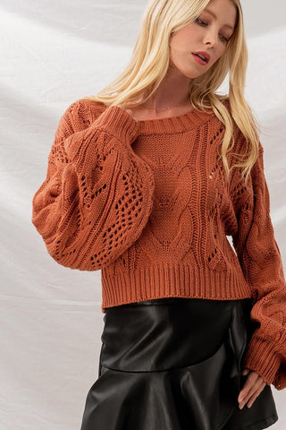 Rust Cable Knit Sweater
