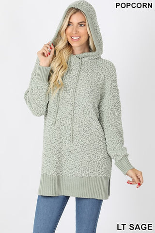 Hooded Popcorn Sweater - Sage