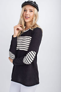 Black top with black & white stripes