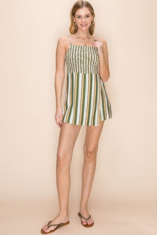 Olive/Mustard Striped Romper