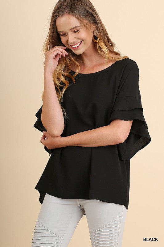 Layered Ruffle Sleeve Top