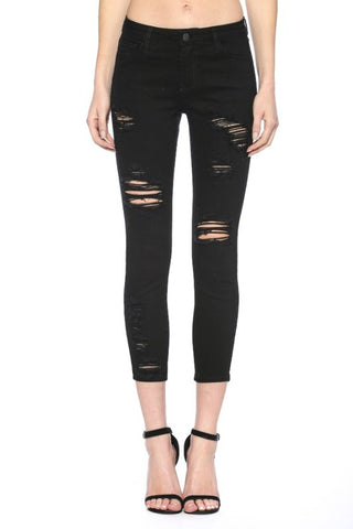 Black Distressed Crop Jeans