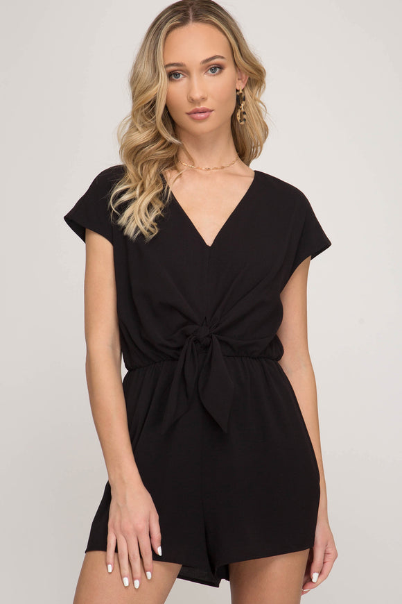 Black Romper with Front Tie
