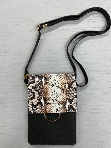 Black Snake Skin Cross Body