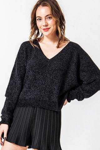 Black Vneck Chenille sweater